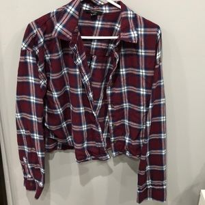 Forever21 cropped red blue and white flannel